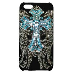 Teal/Turquoise #Bling #Angel Wings & #Cross on Black Cover For #iPhone5C