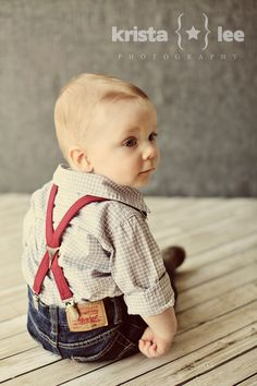 jeans + checked shirt + suspenders + bow tie - My little cousins would look so cute in this.