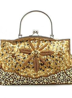 Elegance Handmade Women Bead Sequined pearl embroidery Eveni,  Bag, gorgeous gold beaded clutch, Chic
