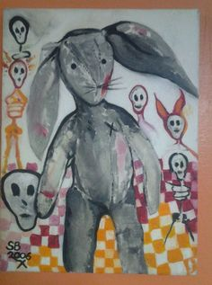 Original oil painting  outsider art stretched signed dated 06 #OutsiderArt