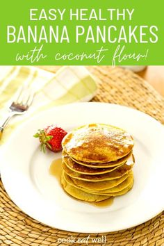 This easy healthy banana pancakes recipe with coconut flour is a quick breakfast any day of the week. It's gluten-free, dairy-free, grain-free, sugar-free and paleo. via @cookeatpaleo Egg Free Recipes, Coconut Recipes, Paleo Recipes, Real Food Recipes, Easy Banana Pancake Recipe, Banana Pancakes, Homemade Breakfast, Best Breakfast Recipes, Clean Eating Breakfast