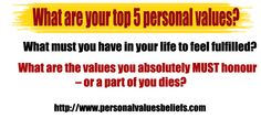 What must you have in your life to feel fulfilled?     What are the values you absolutely MUST honour – or a part of you dies?