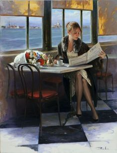 Ricardo Sanz is a Spanish* Portrait painter and Landscapist. For biographical notes and early works by Sanz see Ricardo Sanz, 1957 Café Vintage, Jack Vettriano, Spanish Art, Cafe Art, Woman Painting, Beautiful Paintings, Female Art, Sculptures, Illustration Art