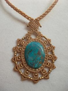 Mandala macrame necklace with Sattuckite in the by LunaticHands