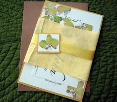 Hawaiian Tropical Orchid Beach Silk Wrapped Wedding Invitation