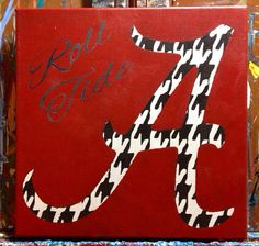 Roll Tide - Alabama Houndstooth A - 12x12 Acrylic on Canvas on Etsy, $25.00