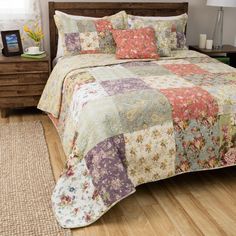 Greenland Home Fashions Blooming Prairie 3-Piece Quilt Set (Queen/Full - Queen/Full), Yellow (Cotton, Patchwork)
