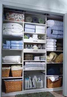 I love my linen closet. There is something nostalgic about my linen closet. Her linen closet always smelled fre. Linen Closet Organization, Bathroom Organisation, Closet Storage, Kitchen Organization, Laundry Storage, Linen Cupboard, Cupboard Storage, Rustic Bathroom Vanities, Bathroom Ideas