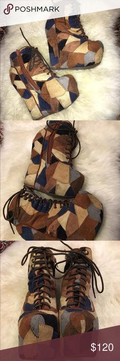 Jeffrey Campbell Patchwork Damsel Pre-loved, shows signs of wear but not too noticeable because of the patchwork style. Gorgeous colors for the fall & winter. Super comfortable! Jeffrey Campbell Shoes