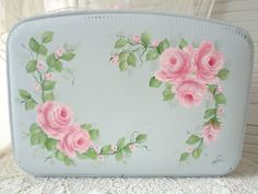 LOVELY STORAGE CASE LUGGAGE hp roses chic shabby vintage cottage hand painted  #VINTAGE sunny-sommers on Ebay!