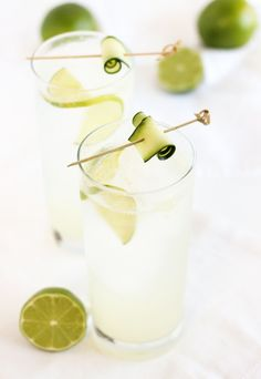 A crisp and refreshing white linen cocktail made with gin, elderflower liquor, cucumber, lime and 7UP is the perfect drink for your summer celebrations! #MixItUpALittle | Sponsored by 7UP | via livelytable.com
