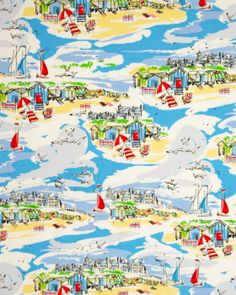 Pure Cotton Fabric | Seaside Red & Blue | Truro Fabrics