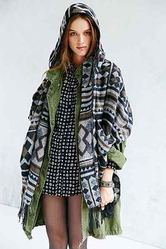 Buffalo Stance Hooded Open Poncho - Urban Outfitters