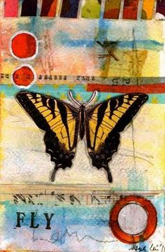 mixed media postcards of butterfly