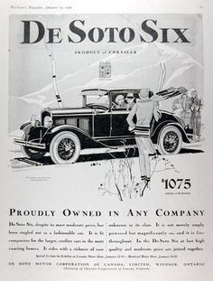 1929 DeSoto Deluxe Coupe original vintage advertisement. Proudly owned in any company. In the DeSoto Six at last high quality and moderate price are joined together. Deluxe Coupe pictured $1,120 at Factory.