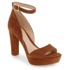 Women's Vince Camuto 'Sakari' Platform Sandal ($139) ❤ liked on Polyvore featuring shoes, sandals, rustic suede, platform sandals, suede shoes, suede platform shoes, d'orsay shoes and ankle strap platform sandals