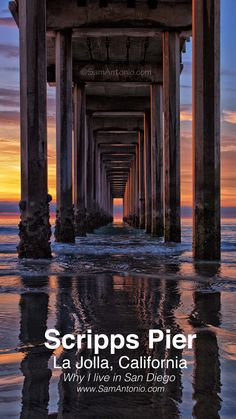 An incredible San Diego sunset under Scripps Pier in La Jolla San Diego Vacation, San Diego Travel, San Diego Beach, San Diego Zoo, La Jolla California, California Travel, Southern California, Cool Places To Visit, Places To Go