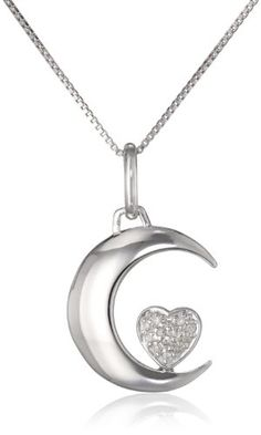 """Sterling Silver """"I Love U 2 the Moon and Back"""" Diamond Accent Moon and Heart Pendant Necklace  (0.10cttw, I-J Color, I2-I3 Clarity), 18"""" - http://www.immmb.com/jewelry/sterling-silver-i-love-u-2-the-moon-and-back-diamond-accent-moon-and-heart-pendant-necklace-0-10cttw-i-j-color-i2-i3-clarity-18.html/"""