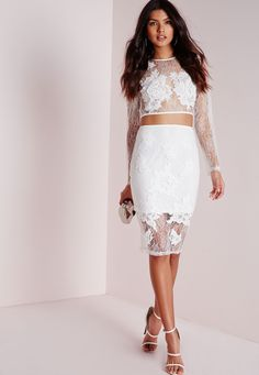 Missguided - Lace Floral Midi Skirt White