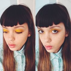Yellow eyeshadow #editorial for Emily Bador beautiful freckled model. Hair & makeup by emilyportermakeup.com