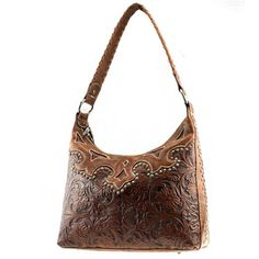 Click Here and Buy it On Amazon.com $55.99 Amazon.com: Montana West Western Genuine Leather Classic Small Round Rivet Studded Floral Embossed Unique Woven Handle Tote Satchel Hobo Shoulder Handbag Purse in Brown: Clothing