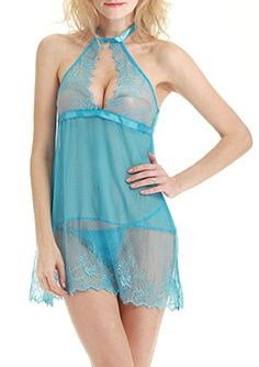 Adorneve Women Sexy Halter Lingerie Lace Strap Chemise Babydoll Dress Blue * Click image to review more details.