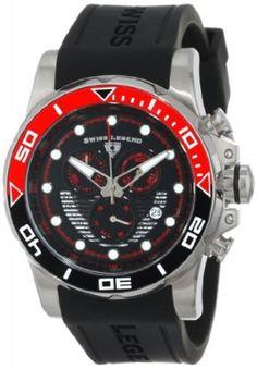 Relógio Swiss Legend Men's 21368-01-RDAB Avalanche Chronograph Black Dial Silicone Band Watch #Relogio #SwissLegend