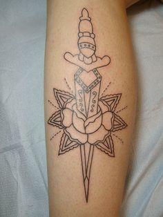 Dagger Rose Tattoo Old School by amandakill, via Flickr