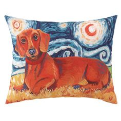 Van Gogh-inspired pillow with a dachshund motif.   Product: PillowConstruction Material: 100% Polyester cover and...