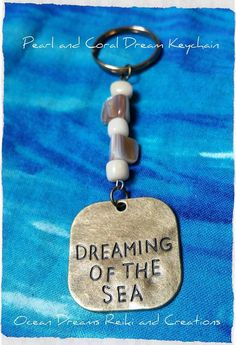 Gemstone Keychain, Pearl Keychain, Ocean Keychain, Freshwater Pearls, Sea Keychain, Bamboo Coral, Dreaming of the Sea, Key FOB by OceanDreamsReiki on Etsy