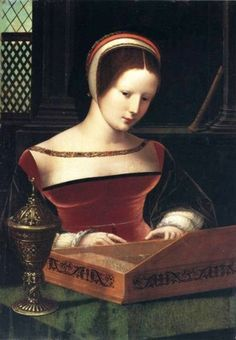 """""""Lady Playing a Clavichord"""", c. 1530, by the Master of the Female Half-Lengths (also known as the Master of the Vienna Concert; Southern Netherlandish, flourished c. 1500-1530)."""