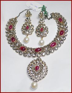 15.20c ROSE/ANTIQUE CUT DIAMOND RUBY & PERAL VICTORIAN LOOK WEDDING NECKLACE SET