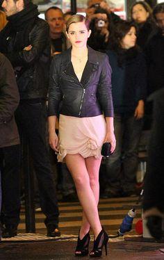 Leather jacket & mini-dress.