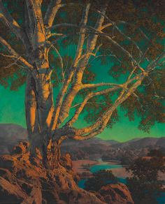 MAXFIELD PARRISH Daily Painting, Classic Art, Landscape Paintings, Travel Art, Underpainting, Maxfield Parrish, Tree Painting, Painting, Popular Art