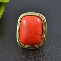 Vintage Jewelry Red Square Shaped Turquoise Rings