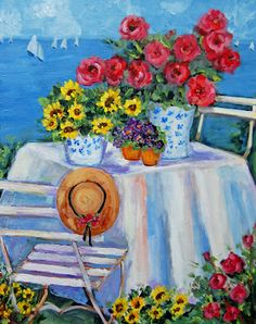 I am so happy that you stopped by. My garden gate is always open for you to come in and sit and relax with a cup of hot tea while . Original Paintings, Painting Inspiration, Painting, Beautiful Paintings, Oil Painting, Sunflower Art, Art, Beautiful Landscapes, Art Pictures