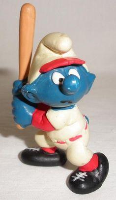 1980 Peyo Schleich Smurf Baseball Player Batting PVC Figure #Schleich