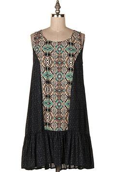 ETHNIC PRINT SHIRRING HEM DRESS   #5H-9319