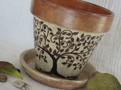 Reserved for Alison - Painted Clay Flower Pot - Whimsical Accessory Holder -Terra Cotta Planter - Brown Decor - Tree Art