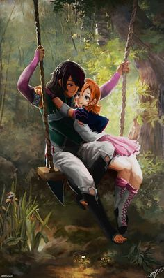 Ren & Nora on a Swing Rwby Ren, Nora Rwby, Rwby Anime, Rwby Fanart, Neon Katt, Red Like Roses, Rwby Memes, Rwby Characters, Rwby Ships
