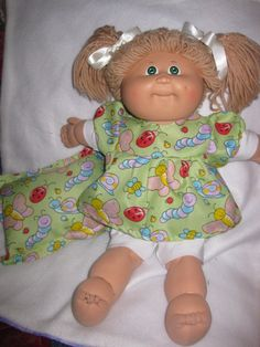 Cabbage Patch Doll Clothes Fun Nursery Print Dress w Pantaloons Pillow Homemade | eBay