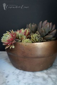 Beautiful upcycled faux copper-finish planter.
