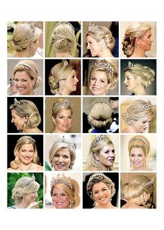 Queen Máxima's tiara hair styles Royal Hairstyles, Tiara Hairstyles, Wedding Hairstyles, Royal Tiaras, Tiaras And Crowns, Queen Of Netherlands, Dutch Royalty, Royal Jewelry, Jewellery
