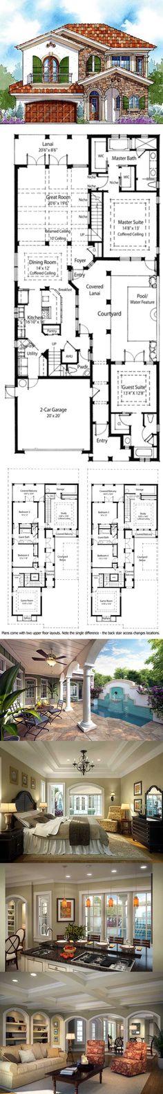 Coastal contemporary florida italian mediterranean house for Narrow lot house plans with courtyard