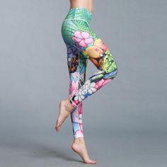 6c4371471a Women's Elastic Waist Stretchy Print Leggings