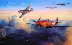 Download wallpaper bombing, b-17, p-51d, ww2, dogfight, war, art, painting, drawing, aviation resolution 1280x800