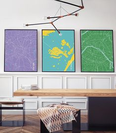 Three Set of City Prints - Customize colors free of charge Price includes three prints (three actual physical prints shipped to you!). I also have additional cities available (when purchasing, just let me know in the Notes to Seller section):  Boston, Chicago, Hong Kong, London,