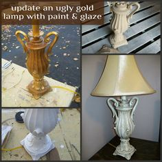 My Repurposed Life updates an ugly lamp with paint and glaze