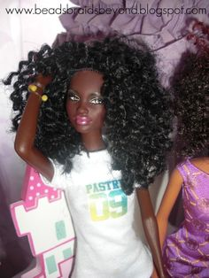 Making natural hair for African barbies!