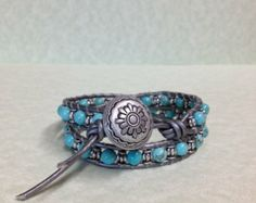 Boho Beaded 2X Leather Wrap Bracelet with Turquoise Stones, Silver plated beads and Metallic Grey Leather (LW-296)